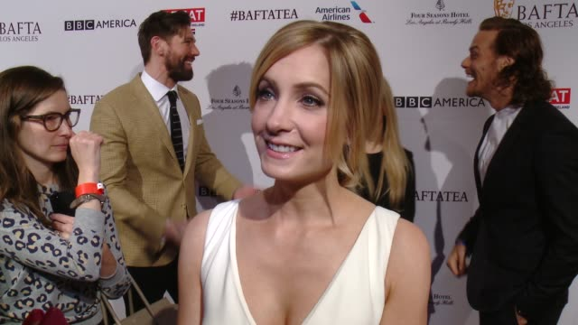 interview joanne froggatt on being at the event on having a strong international community in hollywood and her favorites for awards season at the... - tea party stock videos and b-roll footage