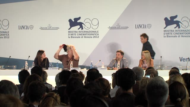 JoAnne Sellar Joaquin Phoenix Philip Seymour Hoffman Paul Thomas Anderson at The Master Press Conference 69th Venice Film Festival on September 01...