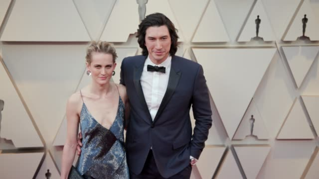 joanne tucker and adam driver at the 91st academy awards - arrivals at dolby theatre on february 24, 2019 in hollywood, california. - academy awards stock videos & royalty-free footage