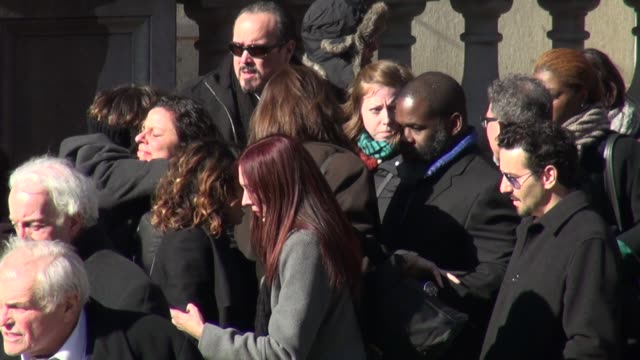joaquin phoenix allie teilz at philip seymour hoffman's funeral service at church of st ignatius loyola in new york - joaquin phoenix stock videos & royalty-free footage