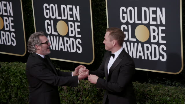 joaquin phoenix and taron egerton at the 77th annual golden globe awards at the beverly hilton hotel on january 05 2020 in beverly hills california - the beverly hilton hotel stock-videos und b-roll-filmmaterial
