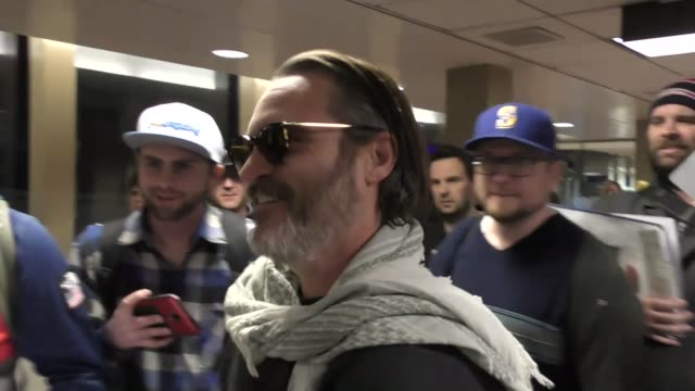 Joaquin Phoenix arriving to the Sundance Film Festival at Salt Lake City Airport in Utah in Celebrity Sightings in Park City UT