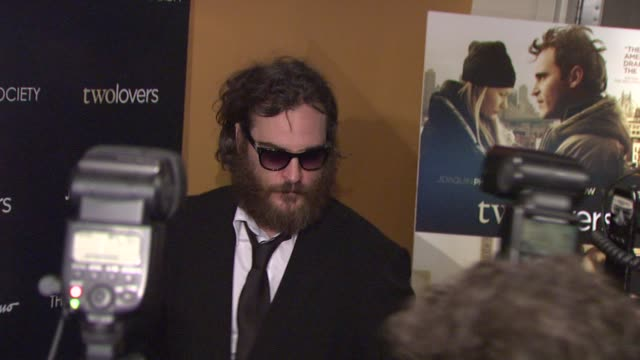 joaquin phoenix at the magnolia pictures and the cinema society present premiere of two lovers at new york ny - joaquin phoenix stock videos & royalty-free footage