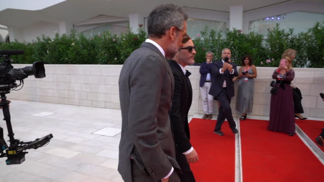 joaquin phoenix todd phillips at closing ceremony red carpet 76th venice film festival on september 7 2019 in venice italy - 76th venice film festival 2019点の映像素材/bロール