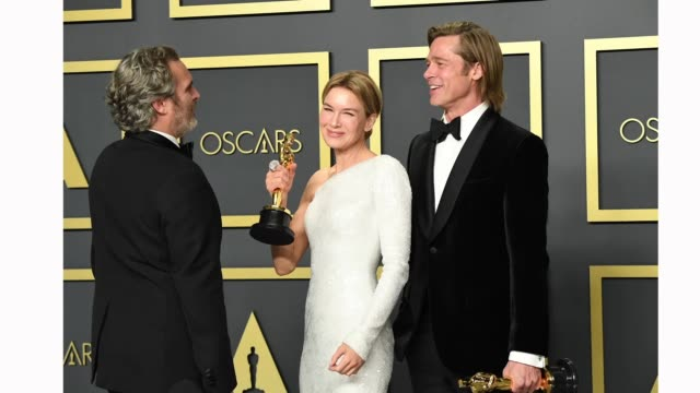 """joaquin phoenix, winner of the actor in a leading role award for """"joker,"""" renée zellweger, winner of the actress in a leading role award for """"judy,""""... - academy of motion picture arts and sciences stock videos & royalty-free footage"""