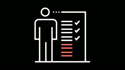 vídeos y material grabado en eventos de stock de job descripción línea icono animación con alfa - formulario de solicitud