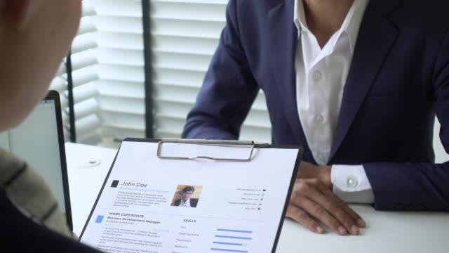 job interview  resume - colloquio di lavoro video stock e b–roll