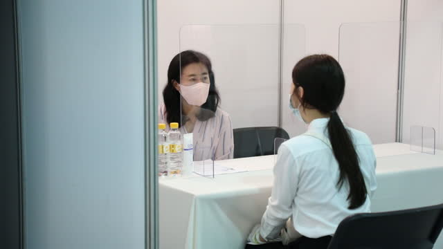 job seekers attend a job fair for the youths organized by the seongnam city government inside pangyo techno valley in seongnam, south korea, on... - employee engagement stock videos & royalty-free footage