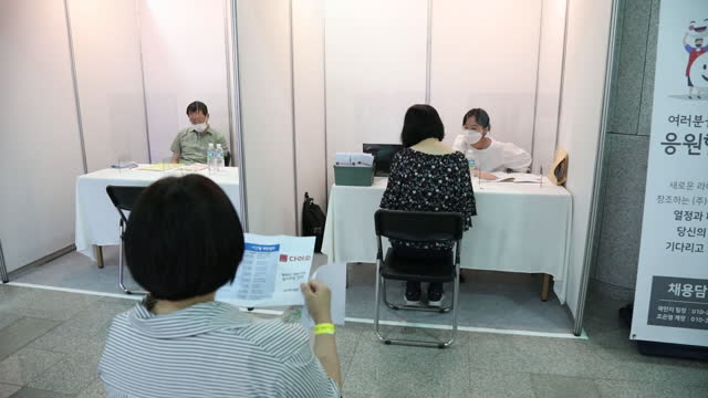 job seekers look at job postings or participate in on-site interviews at the booths of the participating companies during a job fair for the youths... - employee engagement stock videos & royalty-free footage