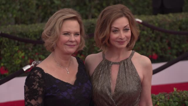 jobeth williams and sharon lawrence at the 22nd annual screen actors guild awards - arrivals at the shrine auditorium on january 30, 2016 in los... - shrine auditorium stock videos & royalty-free footage