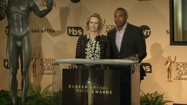 announcement jobeth williams jason george at the 23rd annual sag awards nominations announcement at pacific design center on december 14 2016 in west... - jason george stock videos and b-roll footage
