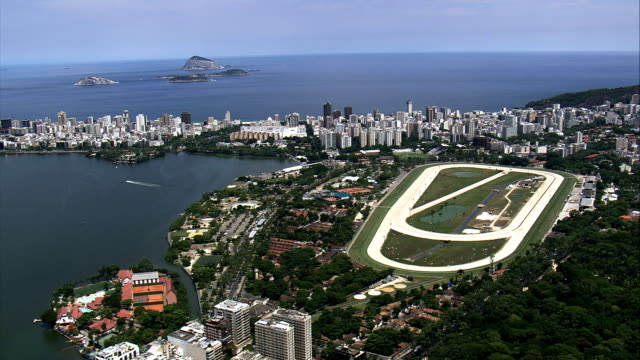 jockey club brasileiro  - aerial view - rio de janeiro, rio de janeiro, brazil - horseracing track stock videos and b-roll footage