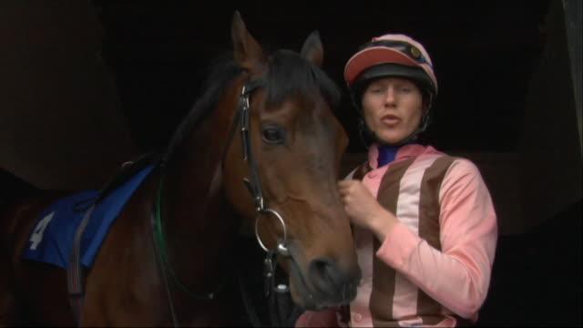 la ms jockey petting horse in stable / newbury, england, uk - newbury england stock videos & royalty-free footage