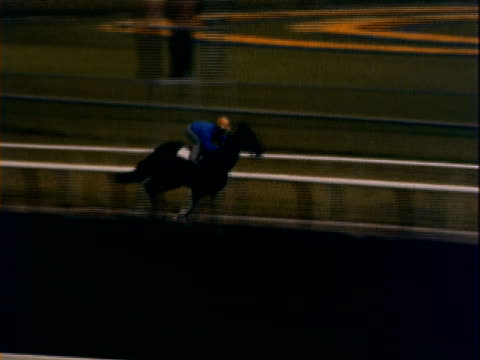 montage jockey racing a horse around the track at top speed and horse stables / california, united states - pferdestall stock-videos und b-roll-filmmaterial