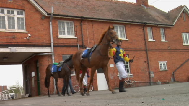 sm la ws jockeys leading horses out of stable / newbury, england, uk - newbury england stock videos & royalty-free footage