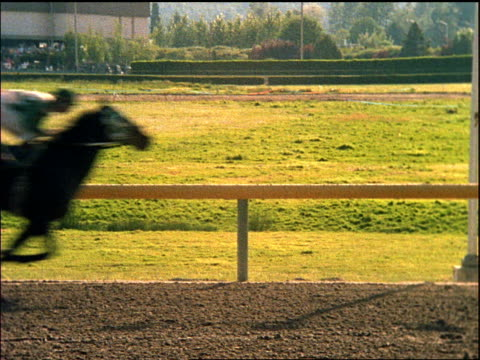 jockeys on horses racing past camera - moving image stock videos & royalty-free footage
