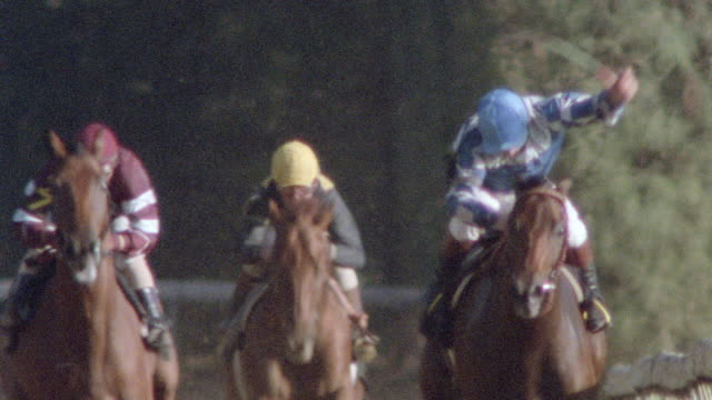 jockeys whip their horses during a race. - racehorse stock videos & royalty-free footage