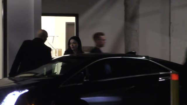 jodi lyn o'keefe & douglas little sneak out of their dinner date at katsuya restaurant in hollywood in celebrity sightings in los angeles, - celebrity sightings stock videos & royalty-free footage