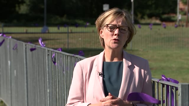 trial begins at old bailey england london harold hill harold hill park ext park where jodie chesney was stabbed and railings with purple ribbons... - statue of justice london stock videos and b-roll footage
