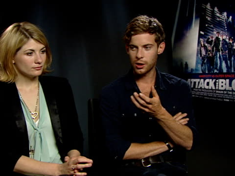 jodie whittaker and luke treadaway on what it was like filming with the kids, how they worked, how involved everyone was at the attack the block... - インタビュー素材点の映像素材/bロール