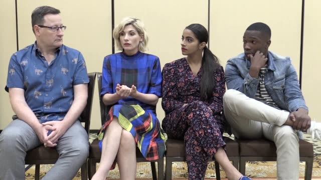 jodie whittaker discusses the #metoo movement in relation to doctor who as well as the diversity of the cast she is joined by show runner chris... - doctor who stock videos & royalty-free footage