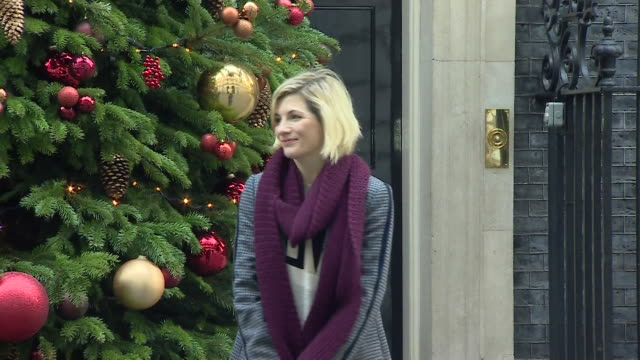 jodie whittaker outside number ten for downing street christmas party - doctor who stock videos & royalty-free footage