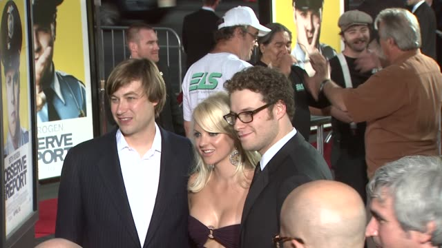jody hill anna faris seth rogen at the 'observe and report' premiere at hollywood ca - seth rogen stock videos and b-roll footage