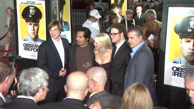 jody hill anna faris seth rogen ray liotta at the 'observe and report' premiere at hollywood ca - seth rogen stock videos and b-roll footage