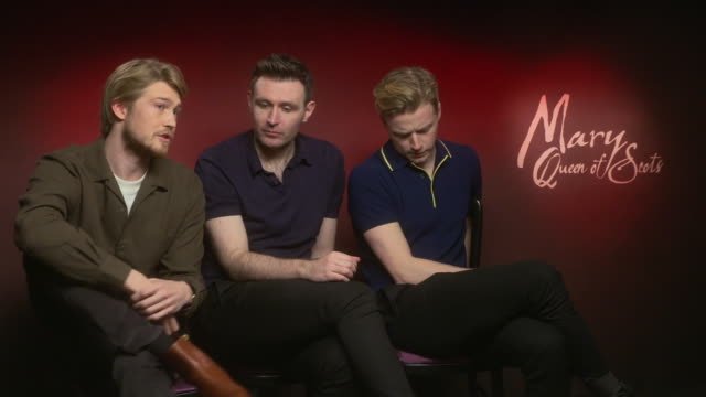 INTERVIEW Joe Alwyn James McArdle Jack Lowden on how the film reflects on todays society how people react to power at 'Mary Queen of Scots'...