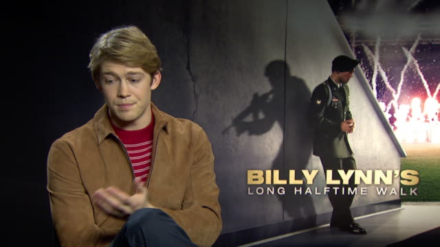 INTERVIEW Joe Alwyn on the high frame rate being on his first film set at 'Billy Lynn's Long Halftime Walk' Interviews on January 19 2017 in London...