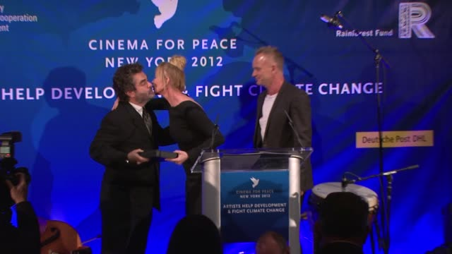 joe berlinger, trudie styler and sting at cinema for peace new york 2012 gala honoring sting, trudie styler & the rainforest fund with 'green oscar'... - trudie styler stock videos & royalty-free footage
