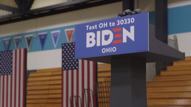 joe biden and bernie sanders have canceled their tuesday evening rallies in cleveland ohio after three confirmed cases of the coronavirus emerged in... - political rally stock videos & royalty-free footage
