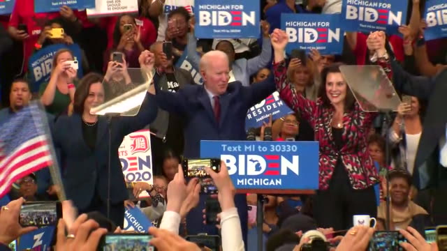 joe biden joins kamala harris, cory booker, and gretchen whitmer on stage during a campaign rally in detroit, michigan. - united states and (politics or government) stock videos & royalty-free footage