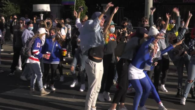 joe biden supporters celebrate the announcement of biden as winner in the presidential election on santa monica blvd. on november 7, 2020 in west... - west hollywood stock videos & royalty-free footage