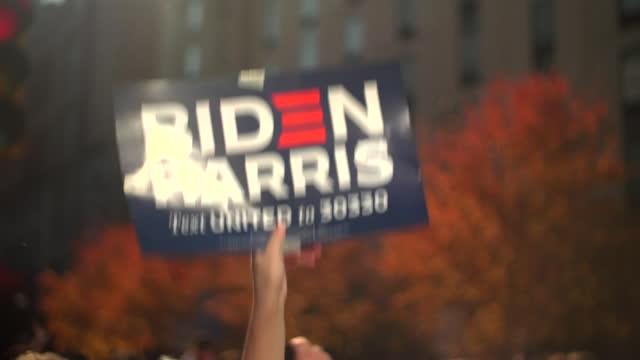 joe biden supporters celebrating his presidential election victory in philadelphia - pennsylvania stock videos & royalty-free footage