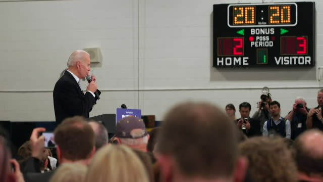 joe biden, us democratic presidential candidate, at political rally before the iowa caucus where voters there will decide who they want to be their... - joe 03 stock videos & royalty-free footage
