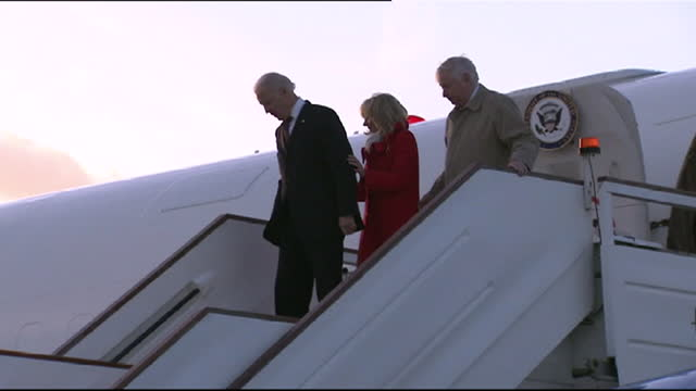 joe biden, us vice president and wife jill, arriving at stansted airport, for meeting with uk prime minister david cameron, 2013 - 2013 stock videos & royalty-free footage