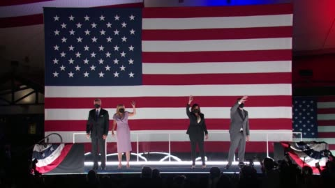 joe biden with wife jill biden and kamala harris with husband douglas emhoff wear masks on stage outside the chase center in wilmington in front of... - nomination stock videos & royalty-free footage
