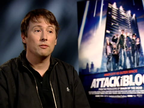 joe cornish on the length of time it took to make, being surprised on the turnout of the premiere, audience reactions at the attack the block... - lunghezza video stock e b–roll