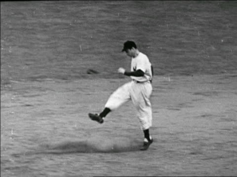 joe dimaggio kicking dirt while running in yankees vs. dodgers game / world series - one mid adult man only stock videos & royalty-free footage