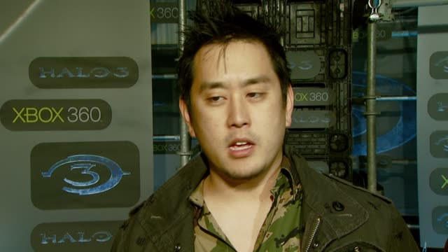 joe hahn of linkin' park on the event halo playing the game and their tour at the xbox 360® halo 3 sneak preview at quixote studios west in hollywood... - linkin park stock videos and b-roll footage