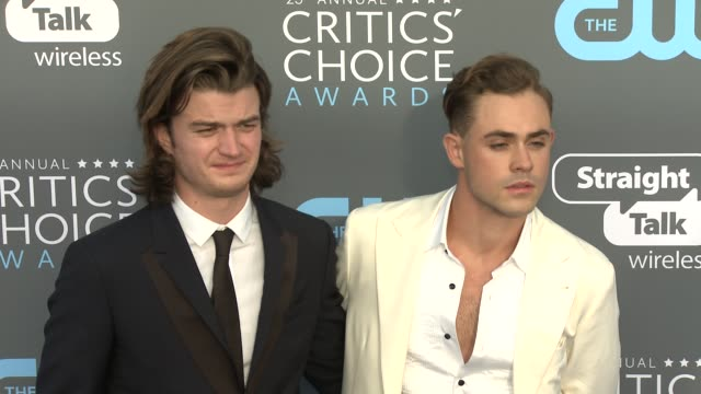 Joe Keery and Dacre Montgomery at the 23rd Annual Critics' Choice Awards at Barker Hangar on January 11 2018 in Santa Monica California