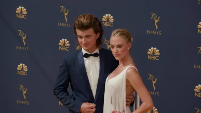joe keery and maika monroe at the 70th emmy awards arrivals at microsoft theater on september 17 2018 in los angeles california - 70th annual primetime emmy awards stock videos and b-roll footage