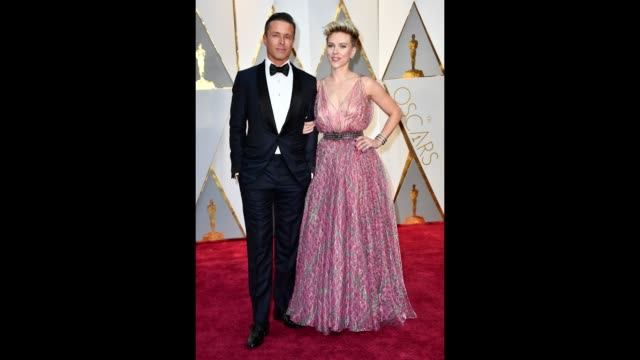 joe machota and actor scarlett johansson attend the 89th annual academy awards at hollywood highland center on february 26 2017 in hollywood... - scarlett johansson stock videos and b-roll footage