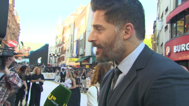 joe manganiello on the backstreet boy scene, playing a shy character, working with andie macdowell at 'magic mike xxl' european film premiere at vue... - andie macdowell stock videos & royalty-free footage