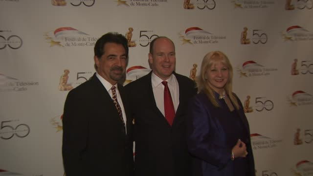 Joe Mantegna HSH Prince Albert II of Monaco at the Monte Carlo Television Festival Cocktail Party at Beverly Hills CA