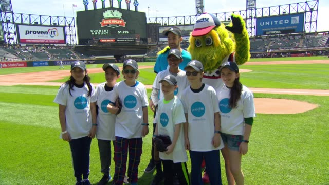 Joe Mr D Dombrowski and guests at UNICEF Kid Power Day At The Chicago White Sox at Guaranteed Rate Field on May 06 2018 in Chicago Illinois