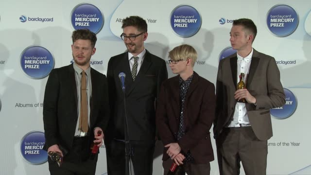 joe newman, gwil sainsbury, thom green, gus unger-hamilton of alt j on their parents betting on their victory at barclaycard mercury music prize 2012... - mercury music prize stock-videos und b-roll-filmmaterial