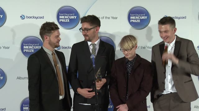 joe newman, gwil sainsbury, thom green, gus unger-hamilton of alt j on how they feel after winning the mercury prize at barclaycard mercury music... - mercury music prize stock-videos und b-roll-filmmaterial