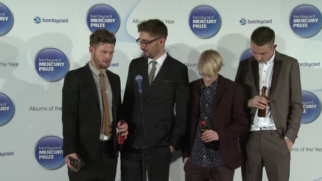 joe newman, gwil sainsbury, thom green, gus unger-hamilton of alt j on the early period of their career at barclaycard mercury music prize 2012 at... - mercury music prize stock-videos und b-roll-filmmaterial